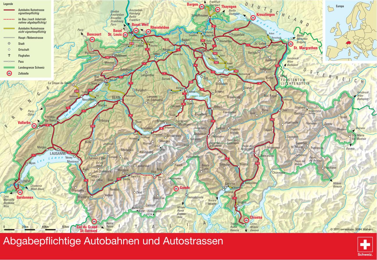 Карта дорог Швейцарии, где требуется виньетка